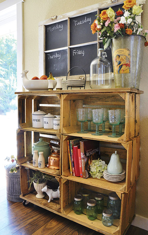 Make shelves out of wooden crates old house restoration for Shelves made out of crates