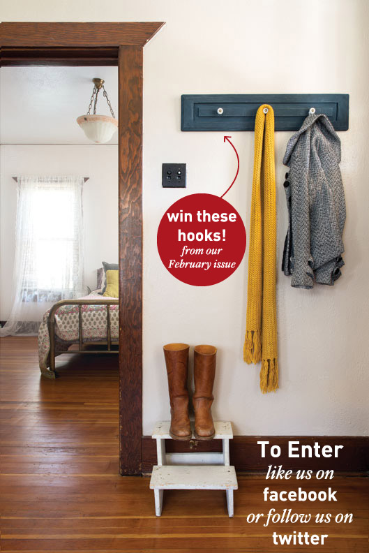 Salvaged cabinet knob hooks giveaway