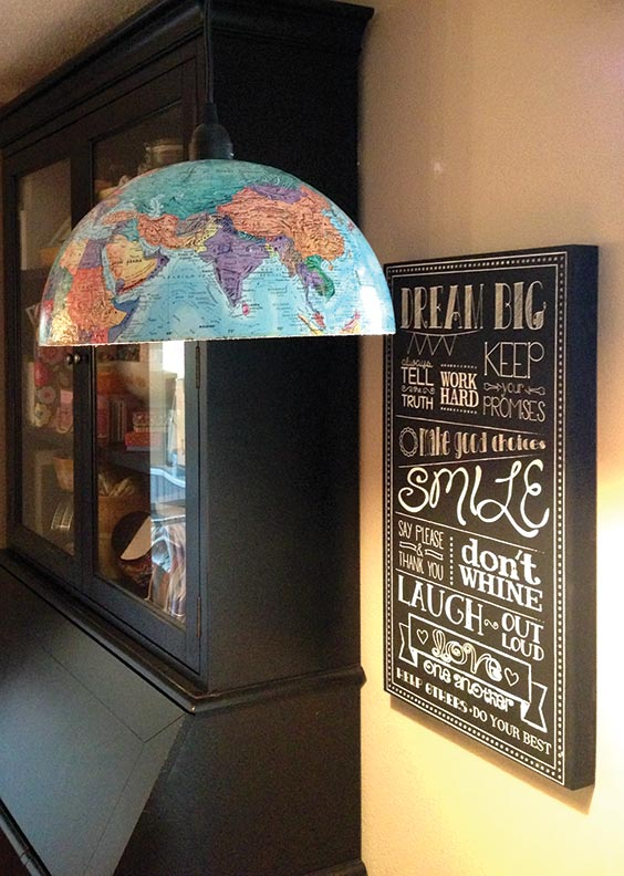 Cut in half, a globe becomes the shade for a basic pendant light.