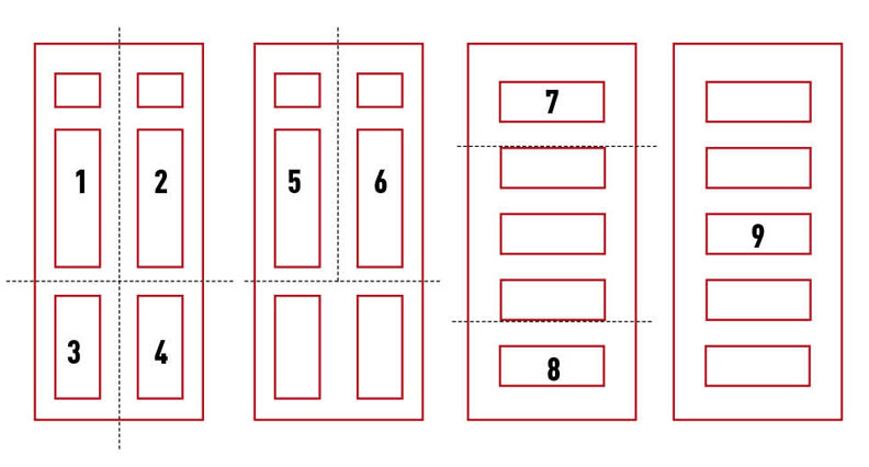 Diagram of cuts on salvaged doors