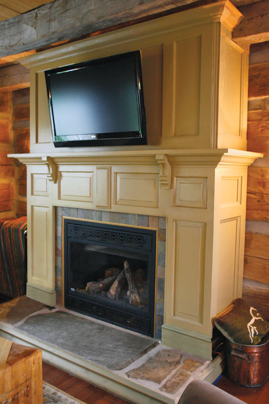 OHJ readers Mal and Greg Hotte made this fireplace surround out of salvaged doors.