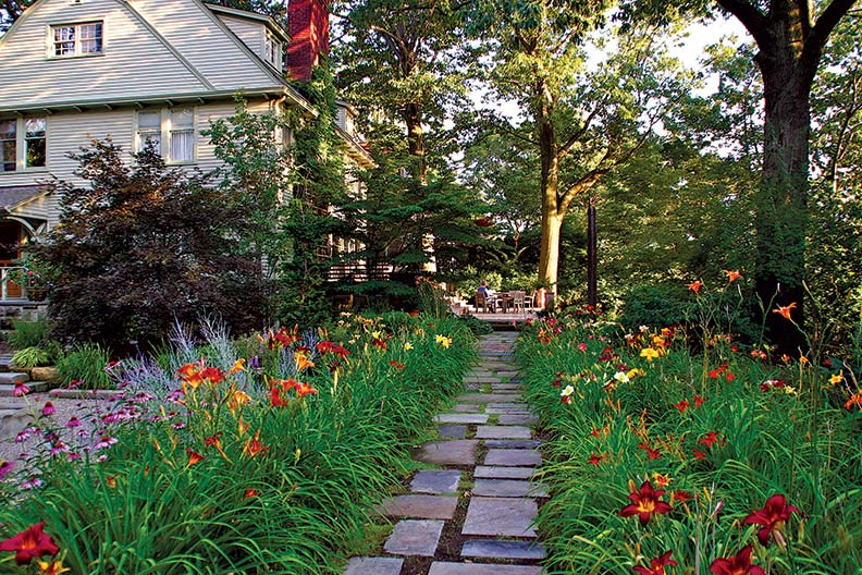 The garden plantings offer beauty and color throughout every season.