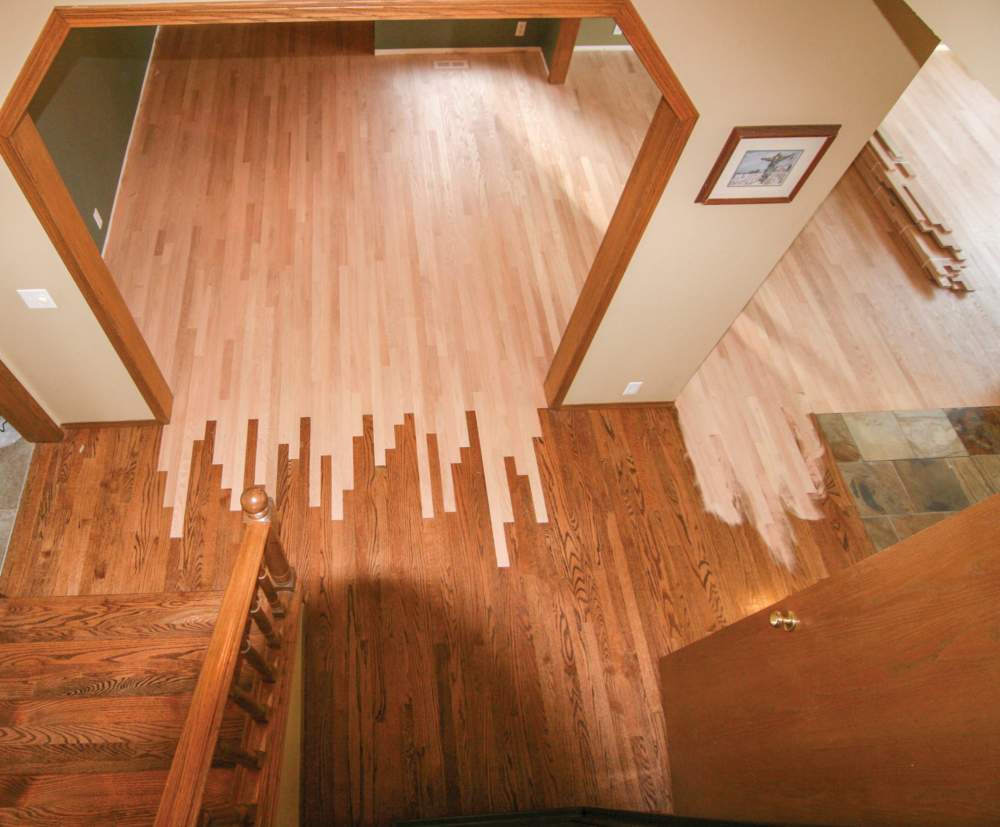 feathering wood floors