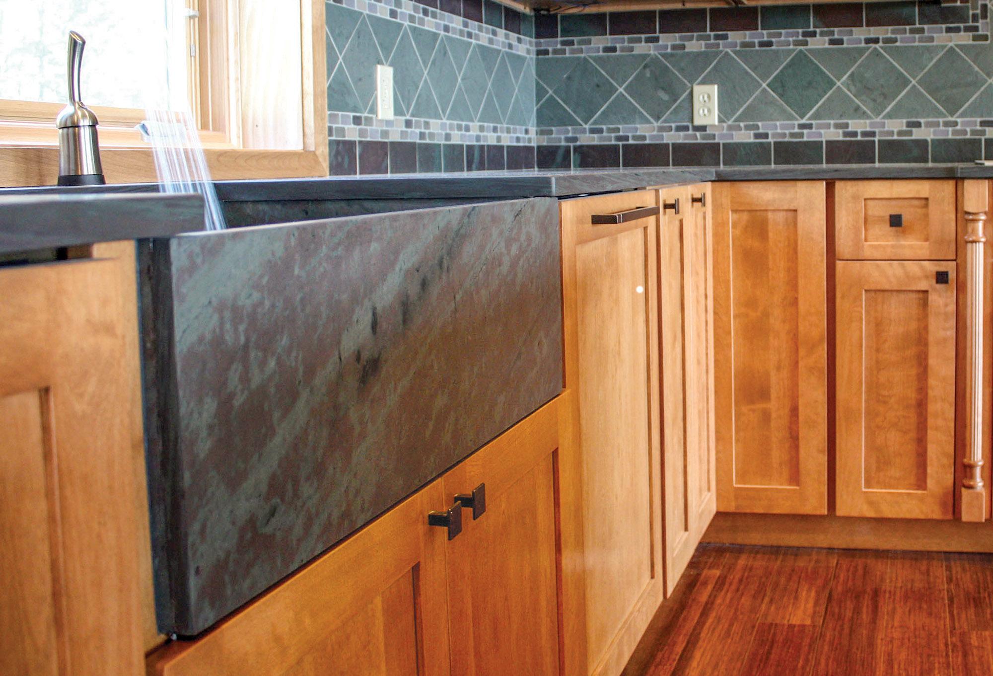 sink fabricated from Northeastern mottled green slate, by Sheldon Slate.