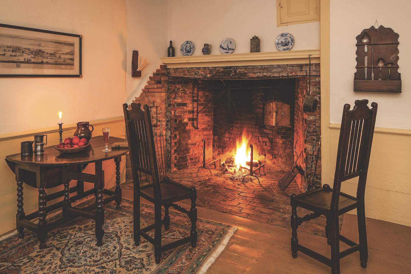 The owners frequently practice hearth cooking in the oldest part of the house.
