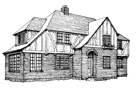 The hallmark of suburban Tudors is decorative half-timbering, as on the second storey of this house. Asymmetry and catslide roofs are common.
