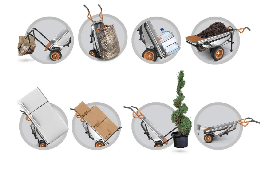 This wheelbarrow/yard cart/dolly is an outdoor project workhorse and is able to do eight different things, from holding garbage bags upright to transporting large potted plants and shrubs.Find it here.