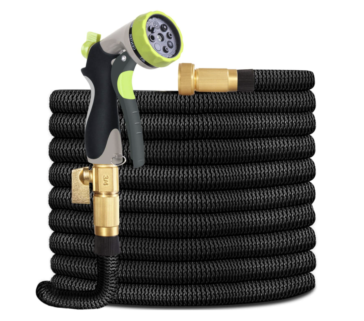 Spray down your deck or clean off your shutters with this lightweight, flexible, and durable garden hose. The 8-pattern sprayer also features a water flow valve.Find it here.