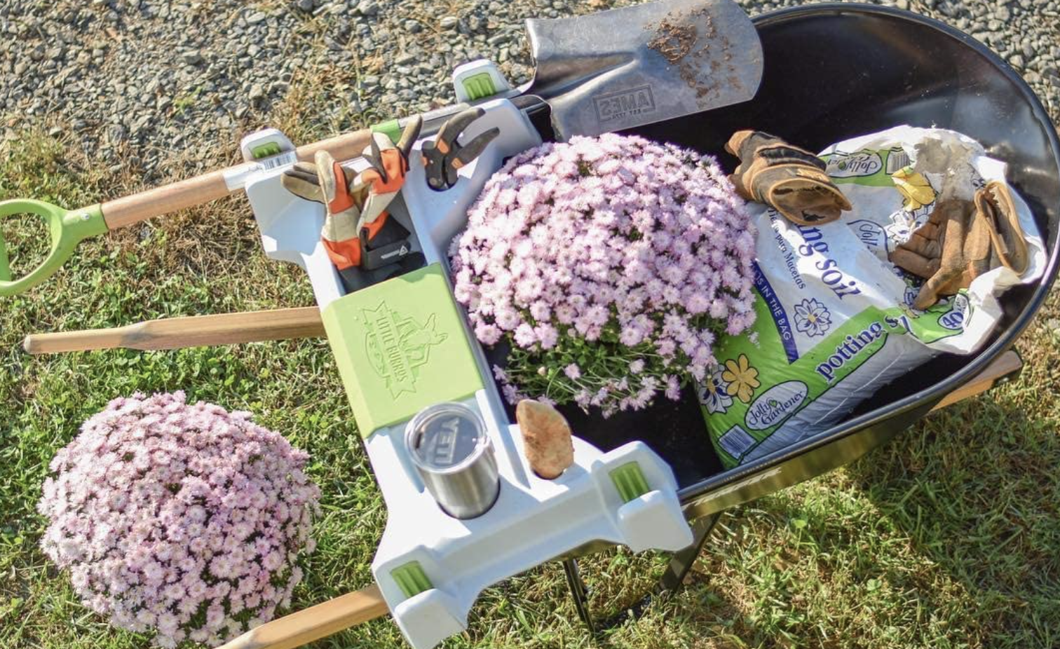 Need to haul around loose materials, such as mulch, soil, debris and rock? This wheelbarrow even has a few handy spots to store tools.Find it here.