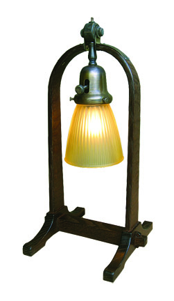 Compass table lamp with ribbed shade, S.D. Murphy