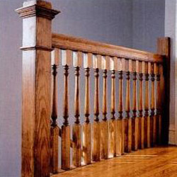 Stairs came completely manufactured and read to nail in place. Every part of the stairs—newels, balusters, railing, risers, treads and stringers—was keyed by number for easy assembly.