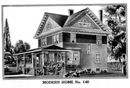 sears kit house, black and white rendering of sears kit house