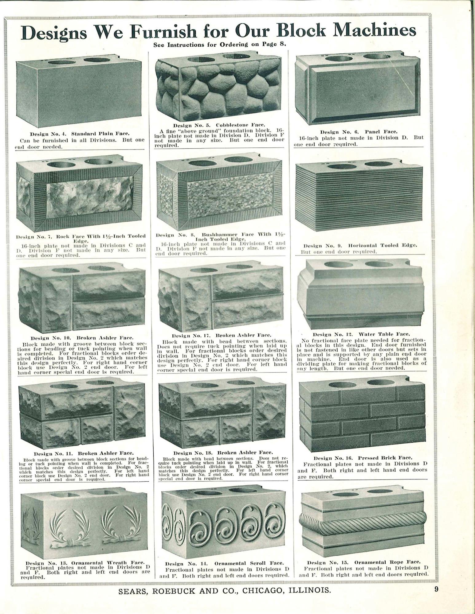 Original patterns  for rusticated brick,  sold through a ca.1908  Sears, Roebuck catalog.