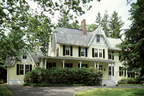 The ideal addition solution is a wing that is subordinate to the main house and positioned behind it. Emulating details on the original house like roof pitch and siding (but keeping them clearly later) helps integrate the new work.
