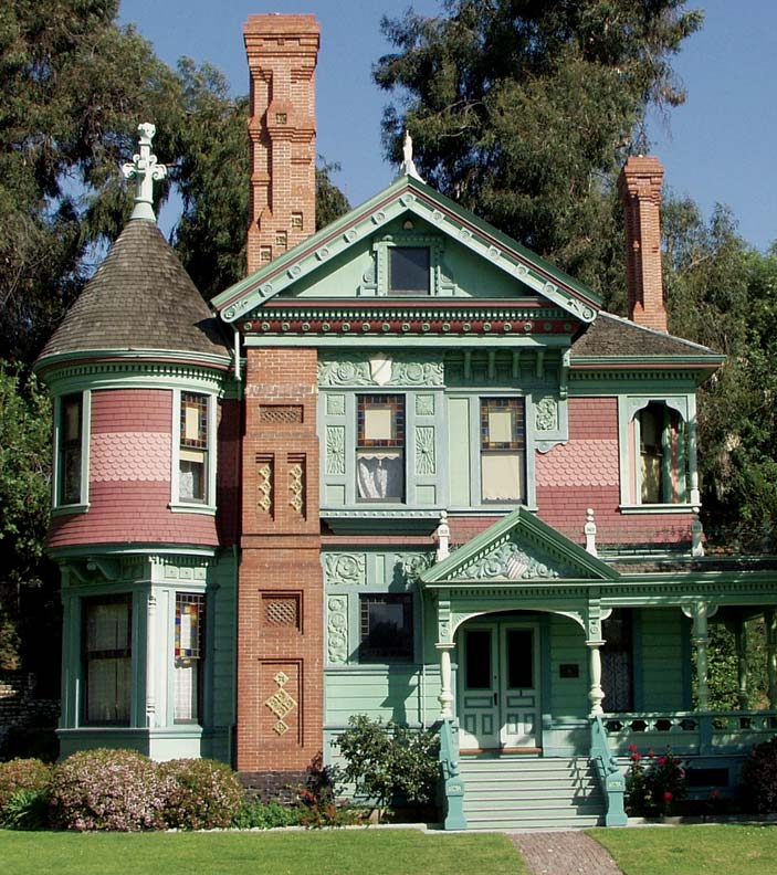 Rows of different designs often exhibited different colors, like the square and round cuts here on the Hale House at the Heritage Square Museum in Los Angeles.