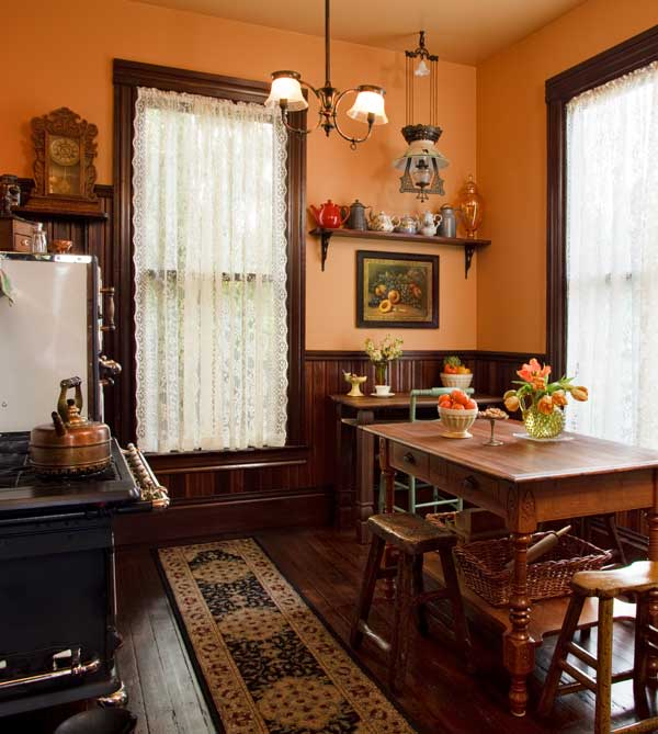Shirred lace panels suit big windows in a Victorian-period kitchen. Photo: Blackstone Edge