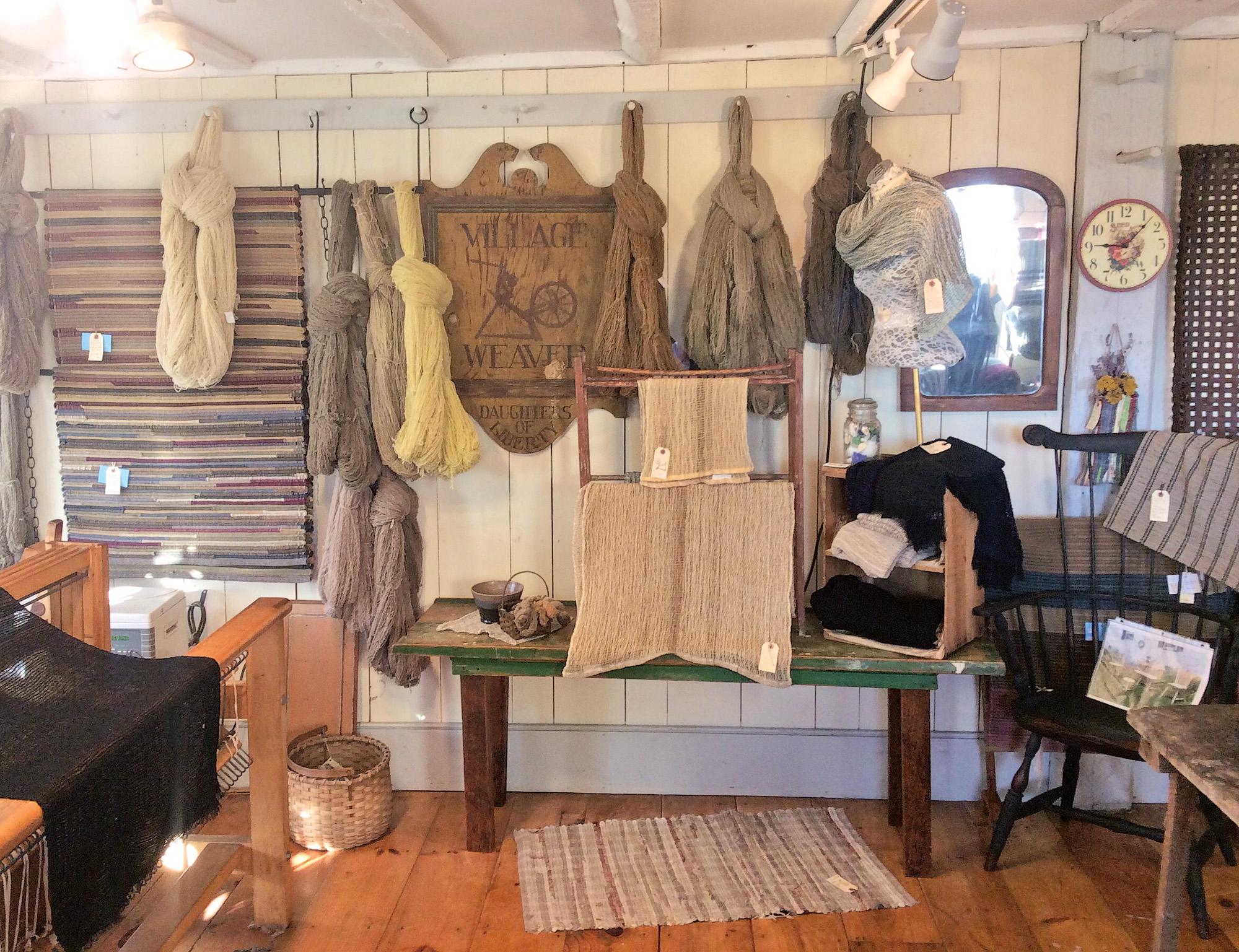 shop interior, Maine's Village Weaver