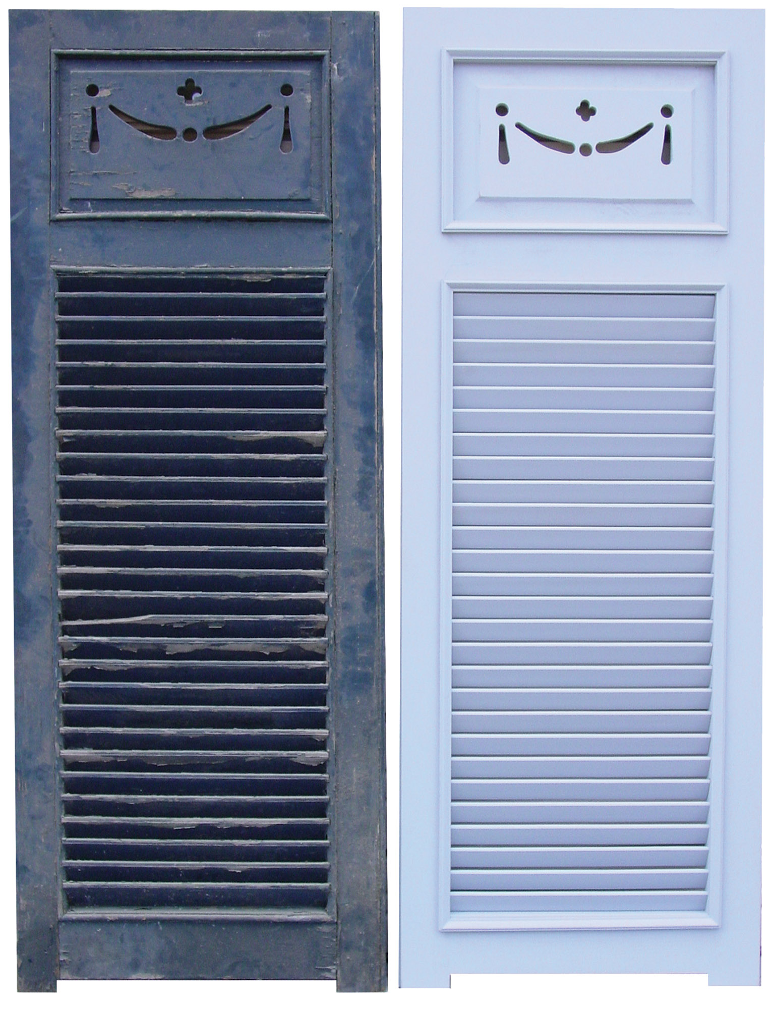 An old louvered shutter—with horns at the bottom of stiles and a delicate swag cutout in a raised panel—next to its replica made by Shuttercraft.