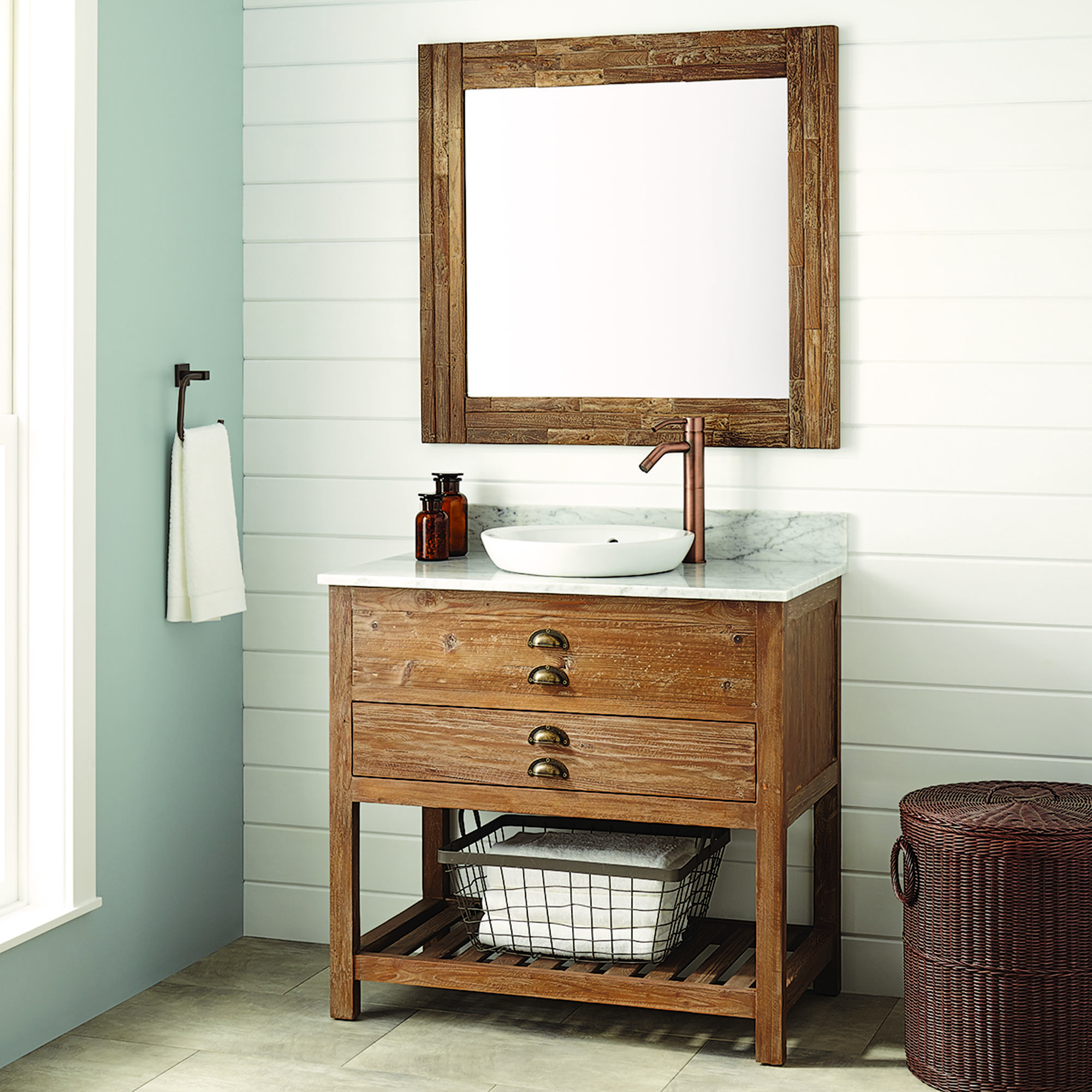 reclaimed wood bathroom console