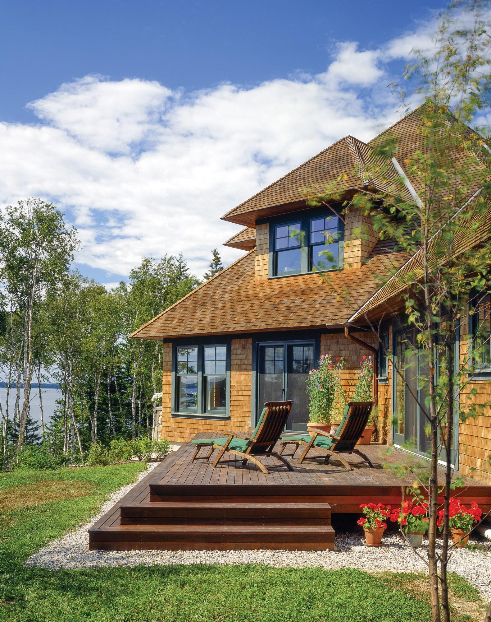 wood shingle house, backyard patio