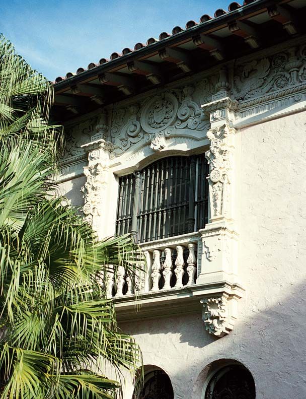 The intricate Spanish Renaissance ornament known as churringueresque is found in the best Spanish Revival houses in window and door details, as in this Coconut Grove, Florida, example.