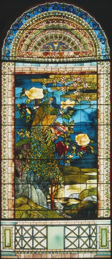 John La Farge revolutionized stained glass with windows like Peacock & Peonies, which used new kinds of glass and techniques such as plating (double thicknesses of glass).