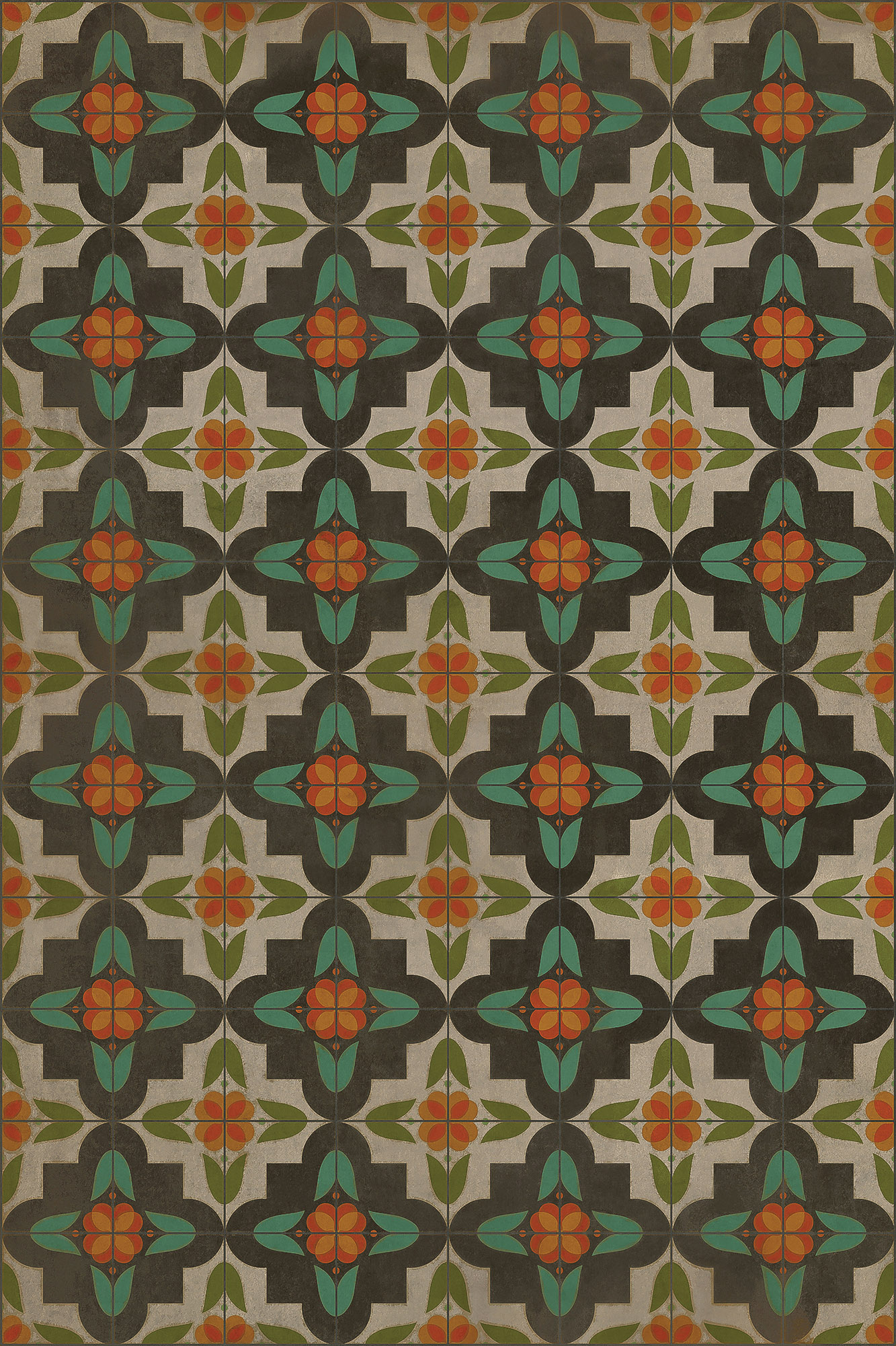 """""""Anna's Garden,"""" a geometric design with colors reminiscent of 1930s or '40s linoleum rugs, is part of the Vintage Vinyl collection."""
