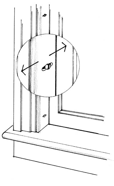 Ideally, the sash stop moldings just inside the window should be constructed with screws or slotted hardware that permits adjusting for a snug sash in winter.