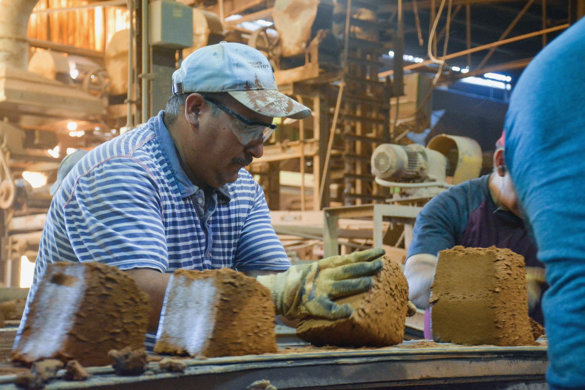 handmade brick production