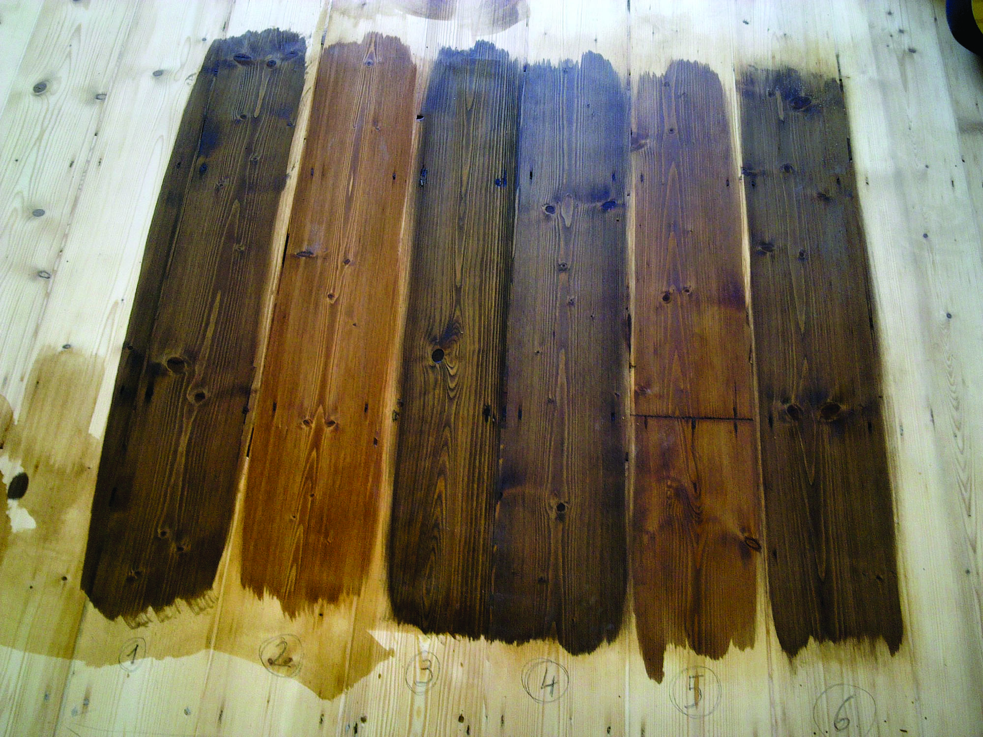 Before committing to a stain color, apply samples to boards of the same wood species and cut as the floor.