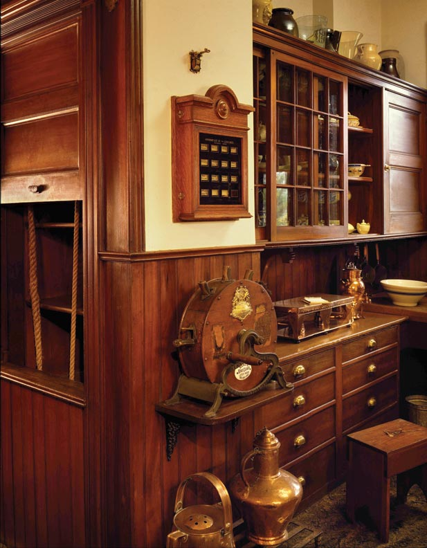 "The original pantry at Naumkeag offers several ""modern technologies"" of the day, such as a dumbwaiter, call box, and knife sharpener."