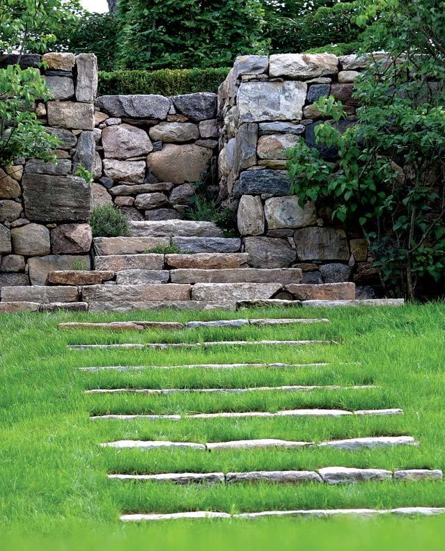 Stone steps act as connectors between the various plateaus in the landscape.