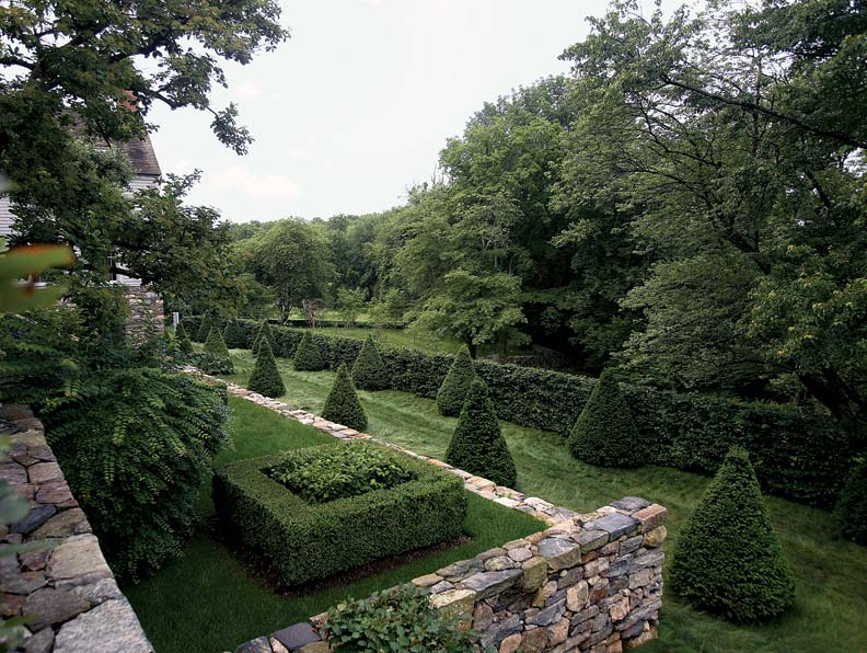 Retaining walls create structure and form in the landscape at Harmony Farms.