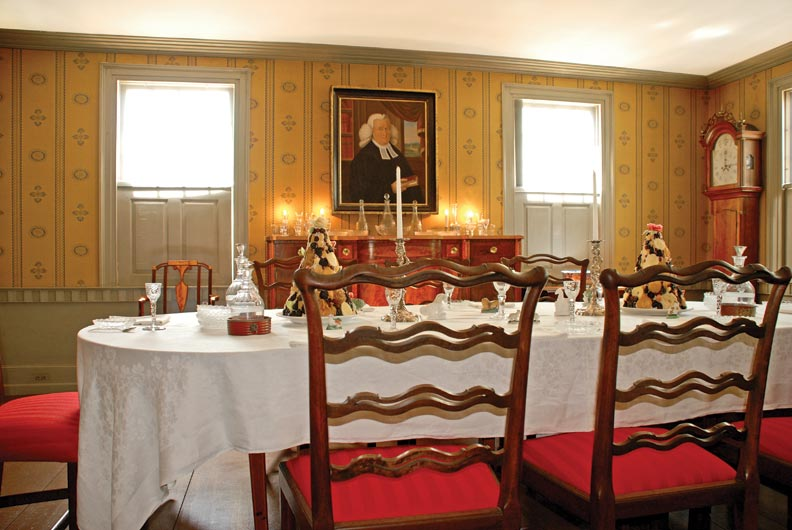 The dining room at the Samuel Chase House (circa 1762) contains examples of Portsmouth-made furniture.