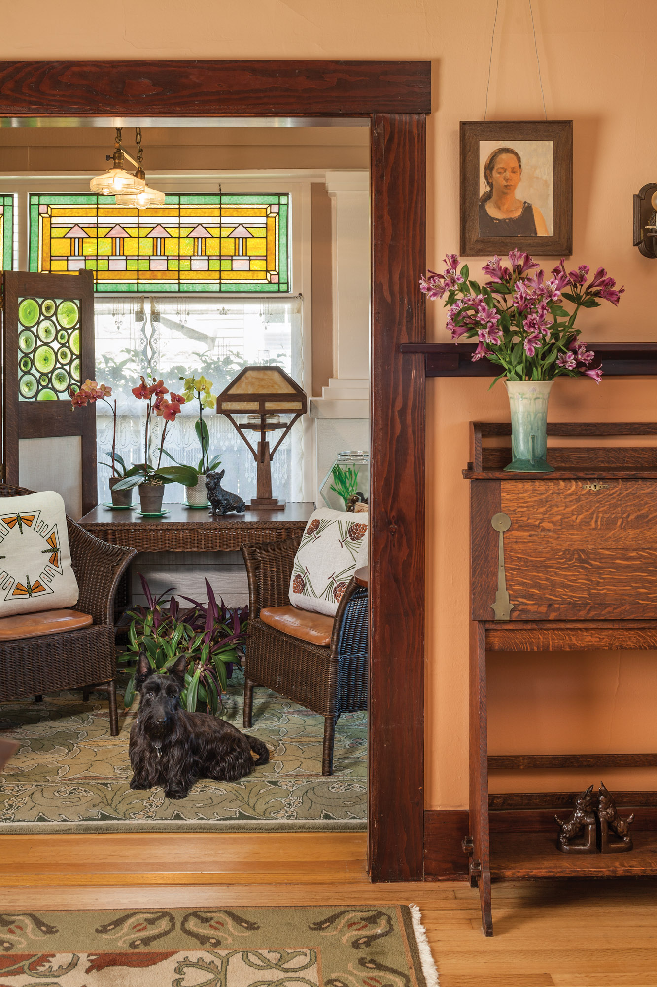 bungalow sunroom, art glass