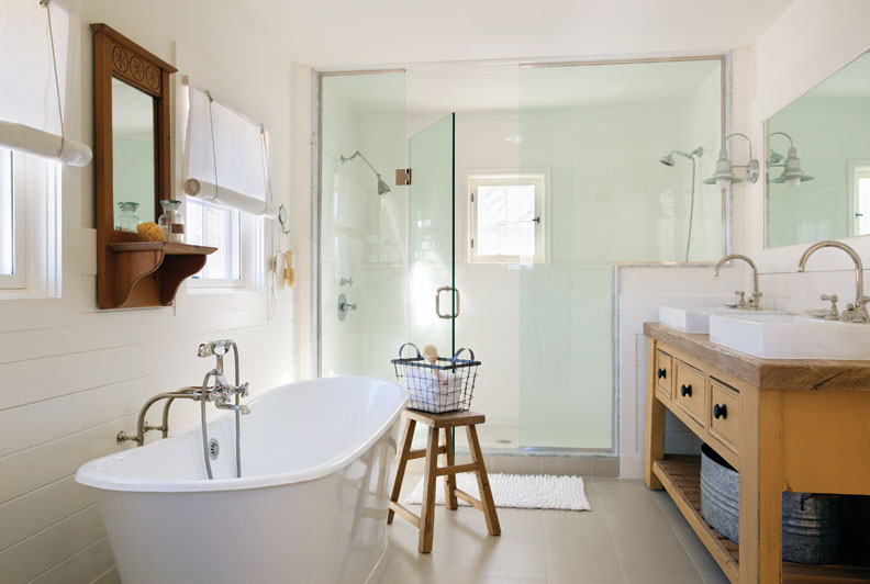 Design firm Zero Energy used low flow fixtures and reclaimed wood floors in this sustainable bath.