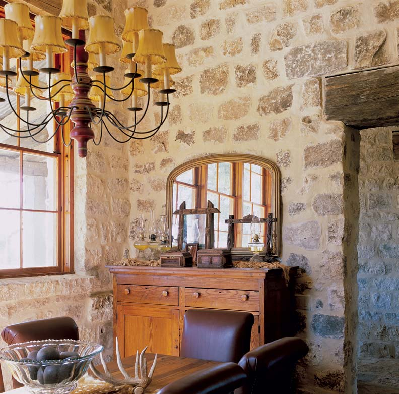 "The 18""-thick limestone walls keep the kitchen insulated from the hot Texas sun."