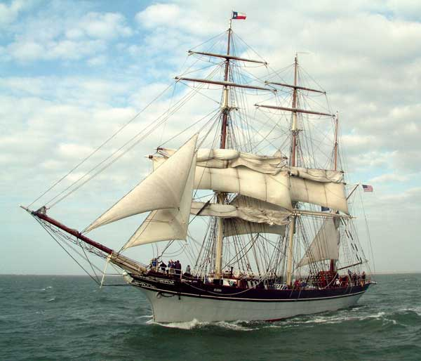 The 1877 Elissa, the official Tall Ship of the state of Texas, came to call in Galveston in the 1880s.