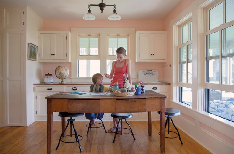 The children are homeschooled, so there are plenty of places to find a quiet spot to read or dabble in finger painting.