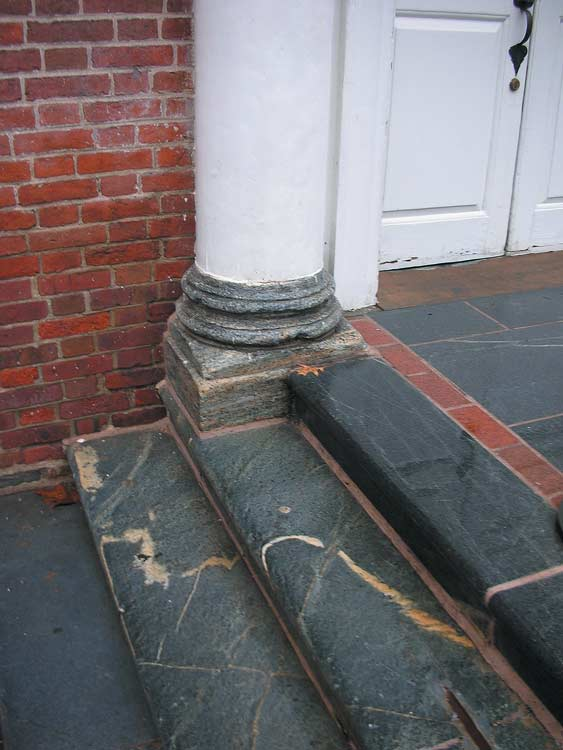 The column base at Philadelphia's Independence Hall's south tower is soapstone, as well as many other features on the building. (Courtesy: Independence National Historic Park)