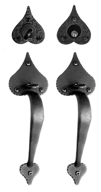 The double lockset from Acorn Manufacturing has heart-shaped cusps.