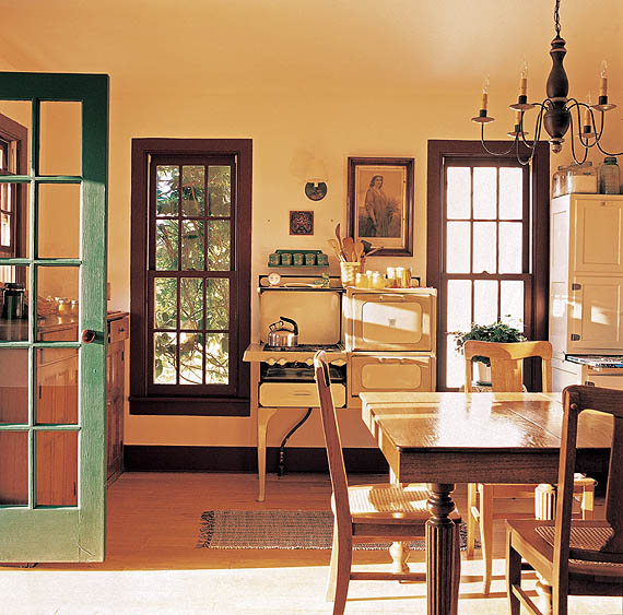 The Easudeses incorporated a 1920s stove into the kitchen, along with salvaged flooring.