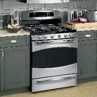 "The GE Profile series 30"" range is shown in stainless steel. $1,475."
