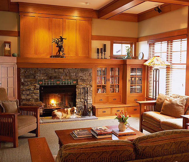 The great room features custom built-in cabinetry.
