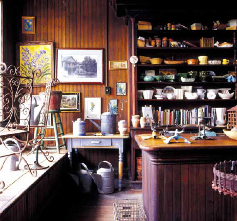 The homeowners use the old store as a quasi-museum from which they sell their antiques and vintage housewares.