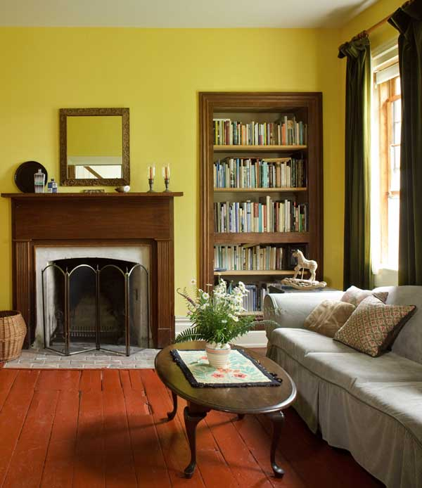 The house is furnished with country antiques and hand-me-downs; the old floors are painted. Bookcases are original cabinets; the walnut doors were stolen long ago.