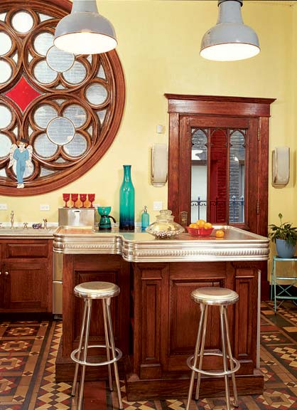 The island was built from the back bar and topped with a custom-made zinc counter.