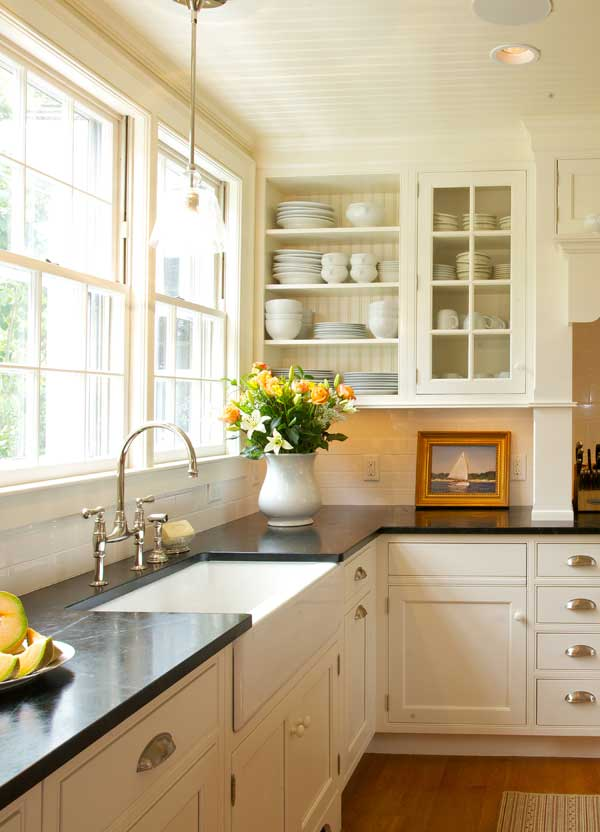 The kitchen addition is sympathetic to the design of the 1804 Federal house.
