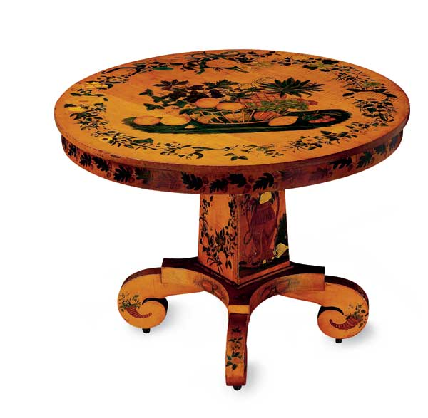 The maple table decorated with watercolor and ink dates to about 1841. Photo: John Parnell, New York