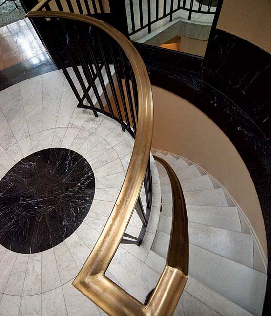 The marble-floored staircase was added by the Dumanians.